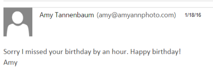 Email from Amy